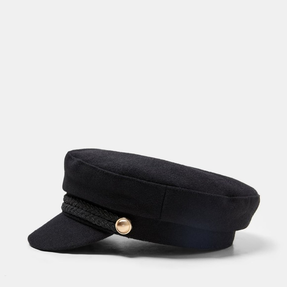 Zara nautical cap, black hat with buttons. NWT